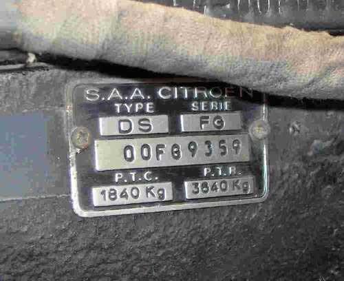 Type mine et motorisation des Citroën DS et ID